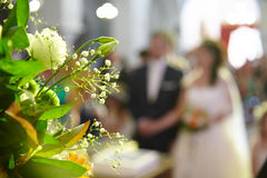 Bride and groom. Wedding bouquet on a background of the bride and groom Stock Photo