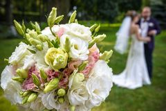Bride Groom with Wedding Bouquet selective focus . Bride Groom with Wedding Bouquet selective focus Stock Photography