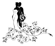 Bride and Groom Wedding Bridal Dress Silhouette. A bride and groom wedding couple in silhouette, the bride in a white bridal dress gown holding a floral bouquet Stock Image