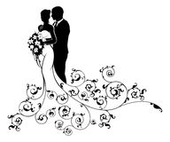 Bride and Groom Wedding Bridal Dress Silhouette. A bride and groom wedding couple in silhouette, in a white bridal dress gown holding a floral bouquet of flowers Stock Images