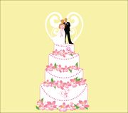 Bride and groom on wedding cake Royalty Free Stock Photo