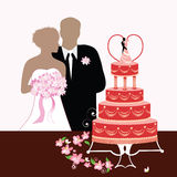 Bride Groom and Wedding cake Royalty Free Stock Photography