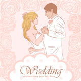 Bride and groom wedding card Royalty Free Stock Image