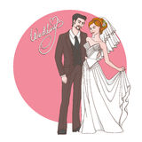Bride and groom, wedding card or invitation Royalty Free Stock Images