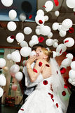 Bride and groom in wedding celebration