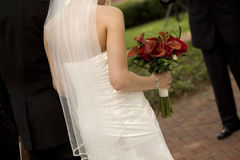 Bride and Groom at Wedding Ceremony Stock Photo