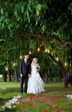 Bride and groom at a wedding ceremony in the park Stock Image