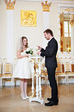 Bride and groom at wedding ceremony Royalty Free Stock Photos