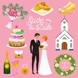 Bride And Groom. Wedding ceremony Set. Newlyweds icons. vector illustration. Married couple, summer. Vintage rustic cake. And rings, bouquet, flowers and church Royalty Free Stock Photos