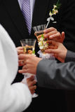 Bride and groom with wedding champagne wine Stock Photography