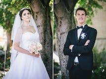 Bride and groom wedding collage Stock Photos