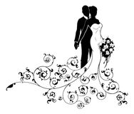 Bride and Groom Wedding Concept Silhouette Royalty Free Stock Photography
