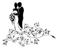 Bride and Groom Wedding Concept Silhouette. Bride and groom wedding couple in silhouette in white bridal dress gown holding a floral bouquet of flowers and Royalty Free Stock Photos