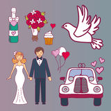 Bride and groom wedding couple marriage nuptial icons design ceremony celebration and holliday people folk icons beauty Royalty Free Stock Images