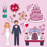 Bride and groom wedding couple marriage nuptial icons design ceremony celebration and holliday people folk icons beauty Stock Photos