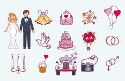 Bride and groom wedding couple marriage nuptial icons design ceremony celebration and holliday people folk icons beauty Royalty Free Stock Photography