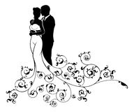Bride and Groom Wedding Couple Silhouette Stock Photo