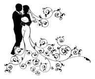Bride and Groom Wedding Couple Silhouettes Royalty Free Stock Photography