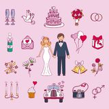 Bride and groom wedding couple vector illustration Royalty Free Stock Images