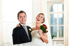 Bride and groom at wedding day Stock Images