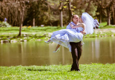 Bride and groom on a wedding day Royalty Free Stock Image