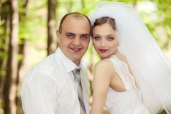 Bride and groom on a wedding day Royalty Free Stock Images
