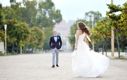 Bride and groom in wedding day in Naples, Italy Stock Photography