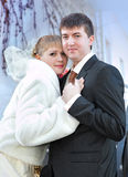Bride and groom on wedding day sky background Stock Photo