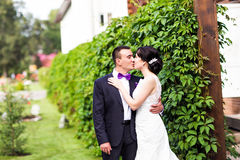 Bride and Groom at wedding Day walking Outdoors on Stock Photography