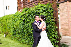 Bride and Groom at wedding Day walking Outdoors on Royalty Free Stock Photos