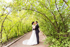 Bride and Groom at wedding Day walking Outdoors on Royalty Free Stock Photo