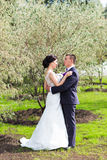 Bride and Groom at wedding Day walking Outdoors on Stock Photo