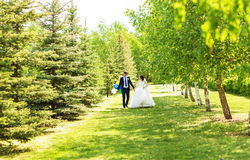 Bride and Groom at wedding Day walking Outdoors on spring nature. Bridal couple, Happy Newlywed woman and man embracing. Bride and Groom at wedding Day walking stock photos