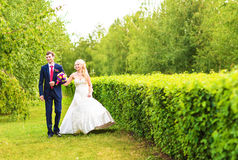 Bride and Groom at wedding Day walking Outdoors on spring nature. Bridal couple, Happy Newlywed woman and man embracing. Bride and Groom at wedding Day walking stock image