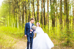 Bride and Groom at wedding Day walking Outdoors on spring nature. Bridal couple, Happy Newlywed woman and man embracing. Bride and Groom at wedding Day walking stock photography