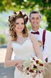 Bride and Groom at wedding Day walking Stock Photos