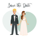 Bride and groom in wedding dress on bridal ceremony. Holding hands. Happy newlyweds or just married couple of man and woman in love. Vector illustration Royalty Free Stock Photo