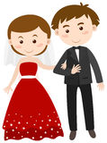 Bride and groom in wedding dress. Illustration Royalty Free Stock Image