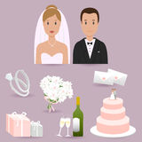 Bride, groom and wedding elements Royalty Free Illustration