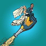 Bride and groom wedding. Inter-ethnic couple. Flying on a bottle vector illustration