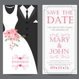 Bride and groom,wedding invitation card. Wedding invitation card, bride and groom dress concept. love and valentine day. vector illustration Royalty Free Stock Images
