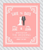 Bride and groom,wedding invitation card Stock Image
