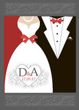 Bride and groom Wedding invitation Red Black White. Royalty Free Stock Photos