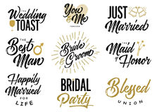 Bride and Groom Wedding Lettering Phrases Vector Set Royalty Free Stock Image