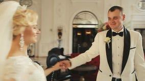 Bride and groom wedding palace interior 3 stock video