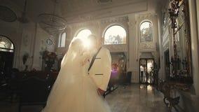 Bride and groom wedding palace interior 2 stock footage