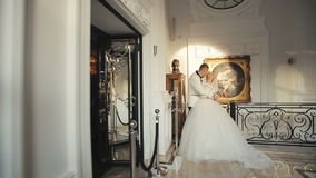 Bride and groom wedding palace interior 4 stock footage
