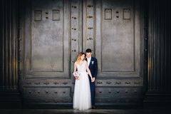 Bride and groom wedding poses in front of Pantheon, Rome, Italy.  Stock Photos