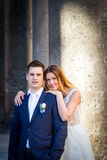 Bride and groom wedding poses in front of Pantheon, Rome, Italy.  Royalty Free Stock Photos
