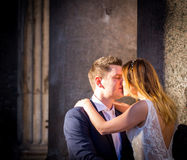 Bride and groom wedding poses in front of Pantheon, Rome, Italy Stock Photo